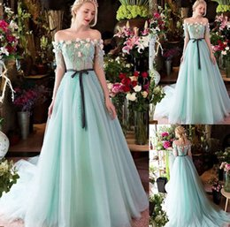 Wholesale Green Flower Dresses - 2017 New Arrival Green Evening Dresses with Off-the-shoulder Neckline Hand Made Flowers Long Sleeves Floor Length Sweep Train