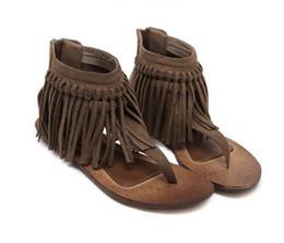 Флип-флоп украшения онлайн-Летние женские ботинки в богемном стиле с кисточками на молнии Удобные сандалии Рим Сандалии с плоскими вьетнамками