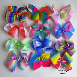 1pc JOJO 8'' grosgrain ribbon hair bows With alligator hair clips boutique rainbows bow girls hairbow For Teens Gift Coupons