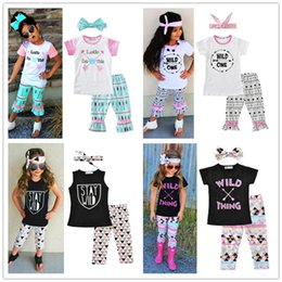 Wholesale Cute Half Sleeve Shirts - 4 style girls Clothing Set new letters half sleeves T-Shirts arrows pants hair bow three pieces suits 12M-5T