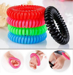 Wholesale Anti Mosquitos - Mosquito Repellent Phone Ring Summer Natural Plant Oils Phone Strap Elastic Anti-mosquito Bracelet Spiral Hand Wrist OOA2059