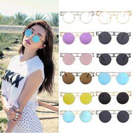 Wholesale Punk Eyeglasses - Colorful Trendy Vintage Women Lady Metal Frame PUNK Style Sunglasses Round Shape Travel Beach Sunglasses Eyeglasses