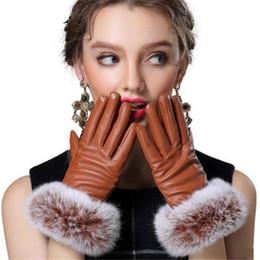 Wholesale Genuine Rabbit Fur Gloves - Wholesale- Autumn Full Palm Touched Gloves Women Genuine Gloves Rabbit Fur Leather Warm Black Mitten Winter Ladies Velvet Ladies Glove G037
