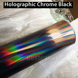 Wholesale car wrap bubble free black - 2017 Black Holographic Vinyl Film For car wrapping with Air bubble Free Rainbow Chameleon Chrome Wrap covering Foil size 1.52x20m Roll