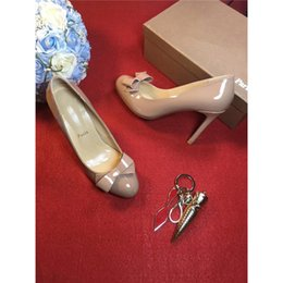 Wholesale Nude Bow Heel - Luxury Brand Christian Women Designer Suede Shoes Nude 2017Louboutin Red Bottoms Heels High Top Flats Bow Tie Genuine Leather Dress Shoes
