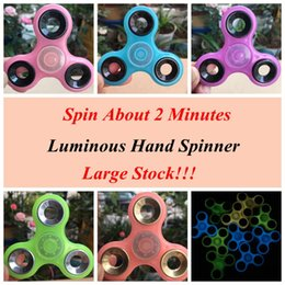 Wholesale Spinning Glow Toys - Colorful Luminous Hand Spinners Glow Hand Spinner Finger Spinner Finger Tri Spinner Colorful Spinning Decompression Toy CCA6088 120pcs