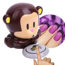 Wholesale Monkey Nail Polish Blower - 1Pcs Cute Mini Cartoon Monkey Nail Dryer Hand Finger Toe Nail Art Gel Tip Polish Dryer Blower Fan Air Dryer Nail Art Tools