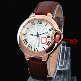 Wholesale Wristwatch Women Leather Orange - 2016 Fashion Top Brand Man AAA watch leather wristwatch Women Dress Watch Quartz Clock Steel lovers' women male watch free shipping