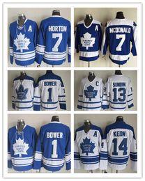 Wholesale Maple Leaf Gold - Toronto Maple Leafs Men's 1 Johnny Bower 7 tim horton 13 mats sundin 14 DAVE KEON 1967 Vintage Throwback Ice Hockey Jerseys