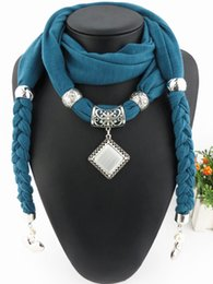 Wholesale Solid Jewelry Scarves - Wholesale- Pendant Jewelry Scarves Necklace Statement Weave Solid Scarves For Women Square Stone Necklace foulard bijoux