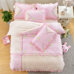 Wholesale Country Comforters - Sweet Comforter Sets Warm Creative Bedding Sets For Girls Fashion Printing Bedding Comforter Sets With Lace Edges