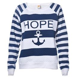 impressão de âncora de barco Desconto Atacado-JECKSION 2016 New Womens Shirt Boat âncora Stripe Imprimir manga comprida camisola Pullover Tops #LYW