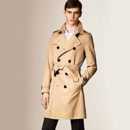 Wholesale Trench Coat Long Men Xxl - Wholesale- Luxury 2016 Autumn Man's Trench Coat Double-breasted Turn-down Collar Long Slim Waterproof XXL Navy Kahki