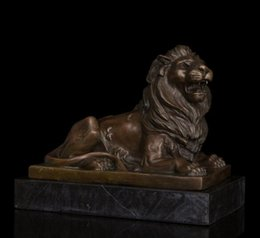 Wholesale Chinese Lion Art - Arts Crafts Copper China feng shui statue Formidable lying male Lion Bronze sculptures home decoration chinese guardian lions