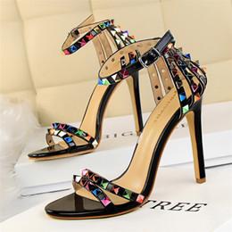 Wholesale Rainbow Sandals Shoes - Bigtree luxury brand rainbow rivets shoes woman valentine shoes gladiator sandals women 2017 summer wedding shoes fetish high heel pumps