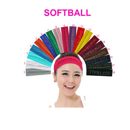 Wholesale 2 inch Rhinestone quot SOFTBALL quot Cotton Stretch Headbands Softball Crystal Bling Elastic Hairband Sweat Hair Accessories