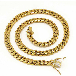 "bracelet solid Promo Codes - Stainless Steel 24K Solid Gold Electroplate Casting Clasp & Diamond CUBAN LINK Necklace & Bracelet For Men Curb Chains Jewelry 24"" 28"" 30"""