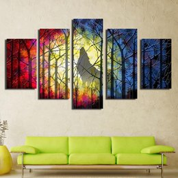 Wholesale Sing Pictures - Best Gifts to Friends Support Droppshipping A lone Wolf is singing alone Spray painting Modern Paintings 5Peices