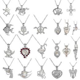 Wholesale Gem Pearl Beads - 18kgp Fashion love wish pearl  gem beads locket cages Pendants, DIY Pearl Necklace charm pendants mountings 50pcs