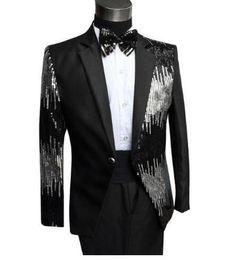 Wholesale Trouser Dress Sequin - Sequins formal dress latest coat pant designs suit men terno masculino trouser marriage wedding suits for men's black red dance