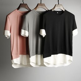 Wholesale Summer silky fabric hit color hem Panelled men s handsome reduce age T shirt
