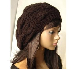 2019 baggy braid hüte Großhandels-Frauen Dame Beret geflochtene Baggy Beanie häkeln Hut Ski Cap Fashion Brown rabatt baggy braid hüte