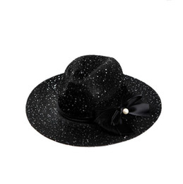 Wholesale Pearl Shade - Good A++ Spring and summer Korean version of the high-end hollow shade jazz hat ladies big pearl sequins fashion beach hat DMB030