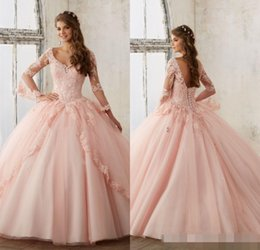 Wholesale Sexy Girls Dressed Princesses - Baby Pink Blue Quinceanera Dresses 2017 Lace Long Sleeve V-Neck Masquerade Ball Dresses Sweet 16 Princess Pageant Dress For Girls Cheap