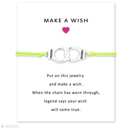 Wholesale Freedom Girl - Silver Tone Handcuffs Freedom Charm Bracelets & Bangles Gifts For Women Girls Adjustable Friendship Statement Jewelry Card
