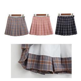 Wholesale High Waist Skirt Korean - Wholesale- harajuku skirts womens 2017 korean summer style new plaid pleated skirt rock kawaii high waist fashion women clothing