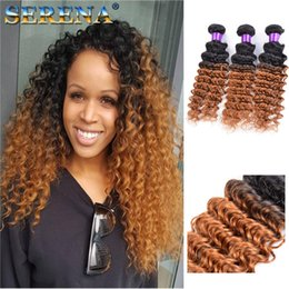 Wholesale Blonde Deep Wave Remy Extensions - Ombre Hair Extensions Indian Deep Wave Virgin Hair Weave Bundles Two Tone 1b 30 7A Ombre Remy Human Hairs Weft 3Pcs Dark Honey Blonde Hair