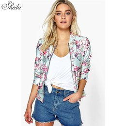 Wholesale Lady Ball Slim - Wholesale- Sheila Top New Fashion Women Casual Zipper Vintage Silm Base Ball Jacket Coat Outwear Print Flower Lady Chic Mujer Casaco Oct18