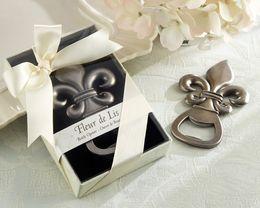 "Wholesale Wholesaler Giveaways - 100pcs lot Top wedding favor supplier ""Fleur de Lis"" Pewter-Finish Bottle Opener wedding giveaways gift Free shipping"
