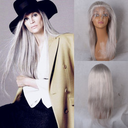 "Wholesale French Long Hair - Silver Grey Wig Human Hair Full Lace Wigs for Black Women 10""-26"" Long Straight Natural Cheap Hair Glueless Front Lace Wigs"