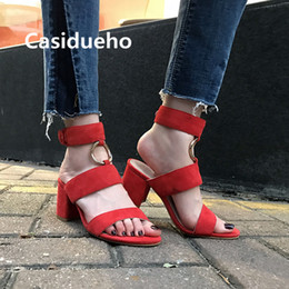Wholesale Men Leather Sexy Dress - Casidueho Metal Circle Ankle Botas Women Sandals Sexy Ladies Shoes Woman High Quality Dress Gladiator Sandals Women Big Size 40
