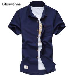 2017 hohe Qualität Kurzarm Shirt Männer Neue Modemarke Sommer Herren Hemd Casual Slim Fit Solide Mens Dress Shirt Männer 7XL von Fabrikanten