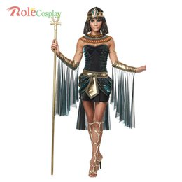 Wholesale Women Cleopatra Costume - 2016 Halloween Clothes Women Sleeveless Arab Queen Of Egypt Cleopatra Black Cosplay Costume Ladies Sexy Fancy Dress Clothes