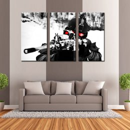 Wholesale Military Art Prints - 3 Pieces Wall Art Painting Sniper Gun Aim Military Pictures Prints On Canvas Military The Picture For Living Room Home Modern Decor Unframed