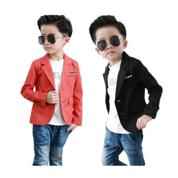 Wholesale Boys Children Clothing - fashion causal boy blazer coat solid orange&black cotton blazer for 2-10years boys male kid children causal suit clothes hot