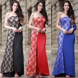 Wholesale Dress Long Asymmetric One Shoulder - Women fashionable one shoulder Asymmetric Lace Maxi dress party dresses