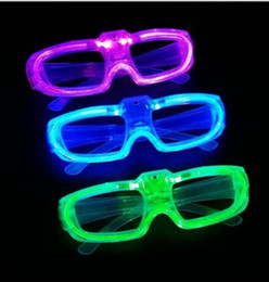 Wholesale Fluorescence Christmas Lighting - 2017 NEW EL Wire Glowing Glasses LED Glowing Flashing Glasses Fluorescence Cold Light Glasses Party DJ Party Christmas MYY