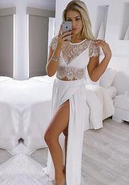 Новая мода 2017 летний пляж из двух частей платья выпускного вечера Кружева топ шифоновая крышка рукава сторона сплит вечернее платье для девочек дешево от