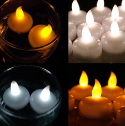 Wholesale Romantic Flameless Candles - Colorful Waterproof Light Water Floating Flameless LED Tealight Candles Wishing Lantern Romantic Wedding Party Decoration CCA7297 240pcs