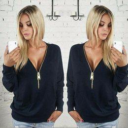 Wholesale Sexy Female Collars - Autumn Hoodies Sexy Deep V Zipper Collar Bat Long Sleeve For Female Casual Thin Coat Tshirts Three Colors