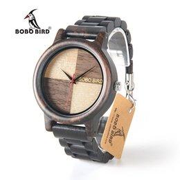 Wholesale unique birds - BOBO BIRD N07 New Men Wooden Watches Quartz Movement Unique Design Dial Face Montre Homme with Wooden Strap in Gift Paper Box