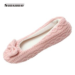 Wholesale Leather Soft Sole Slippers - Wholesale- Hot Selling Free Shipping Warm Soft Sole Woman Indoor Floor Slippers Shoes Crochet Bowtie Pantufa Home Slippers Shoes chinelo