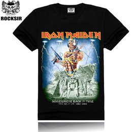 Wholesale Wholesale Hipster Clothes - Wholesale- Men's T Shirt MenT-Shirt Tshirt Iron Maiden Skull Print Heavy Metal Rock Hip Hop Punk Swag Hipster Tee Shirts Brand Clothing