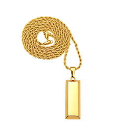 Wholesale Gold Cubes Necklace - Cube Bar Bullion Necklace & Pendant Gold Plated Star Men Hip Hop Dance Charm Franco Chain Hip Hop Golden Jewelry For Gifts
