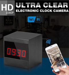 Wholesale Camera Cmos Alarm Clock - New A10 HD 1080P IR Night Version Wifi Alarm Clock Camera View Table Clock Hidden Camcorder P2P Video Recorder Nanny Cam Security Camera
