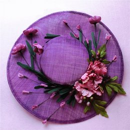 Wholesale Vintage Tulle Hat - Vintage Floral Tulle Linen Purple Bridal Hat High Quality Garden Wedding Hair Accessory Bride Mother Special Occasion Party Photo Hats